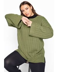 Yours Clothing Khaki Ribbed Wide Sleeve Knitted Jumper - Green