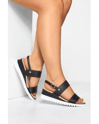 Yours Clothing Black Sporty Wedge Sandals In Extra Wide Fit