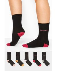Yours Clothing Bench 5 Pack Black Multi Crew Socks