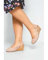 Yours Clothing Nude Slingback Wedges In Extra Wide Fit - Natural