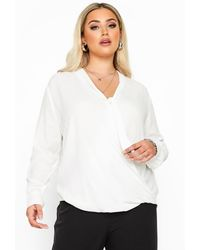 Yours Clothing Ivory Tie Neck Wrap Blouse - White