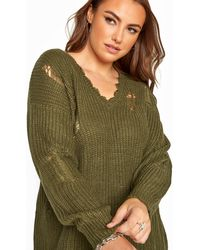 Yours Clothing Khaki Distressed Knitted Jumper - Green