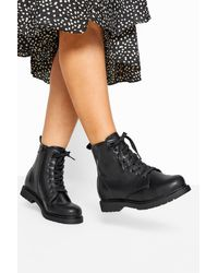 Yours Clothing Black Vegan Faux Leather Lace Up Ankle Boots In Extra Wide Fit