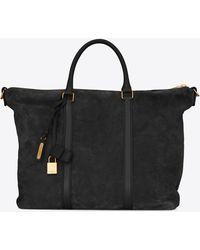 Saint Laurent Shopping bag DUFFLE Supple SAC DE JOUR in suede e pelle - Nero