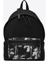 Saint Laurent City sac à dos en toile et en nylon imprimé palmiers - Noir