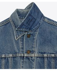 Saint Laurent - Jeans Jacket With Badge In Faded Blue Denim - Lyst