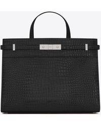 Saint Laurent Manhattan small shopping in shiny crocodile-embossed leather - Nero