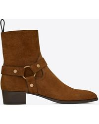 Saint Laurent Wyatt Harness Boots In Crocodile-embossed Suede - Brown