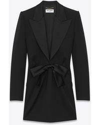 Saint Laurent Tuxedo Mini Dress In Grain De Poudre And Silk - Black