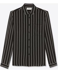 Saint Laurent Chemise à rayures triples en soie mate et brillante - Noir
