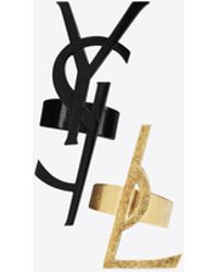 Saint Laurent | Monogram Set Of Deconstructed Rings In Black And Gold | Lyst