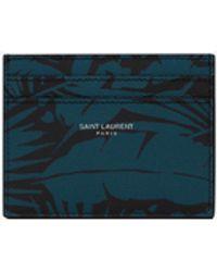 Saint Laurent Porta carte in pelle goffrata grain de poudre con stampa tropical - Nero