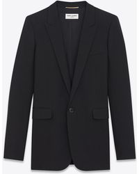 Saint Laurent | Single-breasted Tube Jacket In Black Gabardine | Lyst
