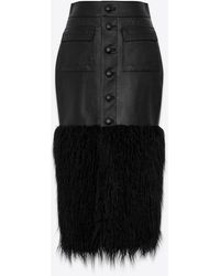 Saint Laurent Long buttoned skirt in shiny grained lambskin and faux fur - Nero