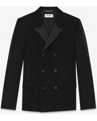 Saint Laurent Double-breasted jacket in grain de poudre - Nero