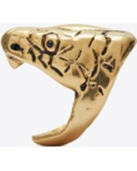 Saint Laurent Serpent Ring In Silver Brass - Metallic