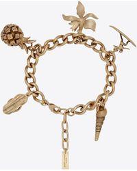 Saint Laurent Bracelet à charms hawaïens en métal - Métallisé