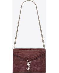 Saint Laurent Cassandra Monogram Clasp Bag In Crocodile Embossed Shiny Leather - Red