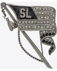 Saint Laurent Sl Flag Brooch In Metal - Multicolour