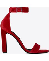 Saint Laurent Grace 105 Ankle Strap Sandal In Red Velour