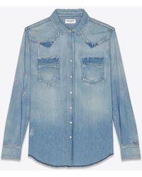 Saint Laurent Destroyed western shirt in dusty pink blue denim