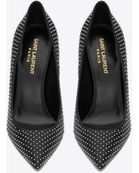 Saint Laurent OPYUM pumps in leather and studs with black heel - Nero