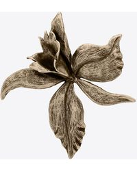 Saint Laurent Spilla orchidea in metallo - Metallizzato
