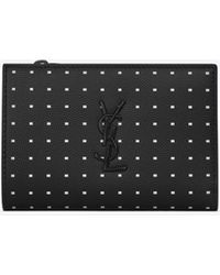 Saint Laurent MONOGRAM two-part wallet in grain de poudre embossed leather with dotted squares - Nero