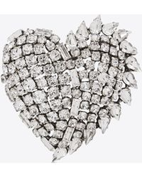 Saint Laurent - Smoking Heart Brooch In Silver And Clear - Lyst