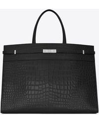 Saint Laurent Large Manhattan Shopping Bag In Mat Crocodile-embossed Leather - Black