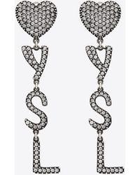 Saint Laurent Orecchini YSL Heart con cristalli - Metallizzato