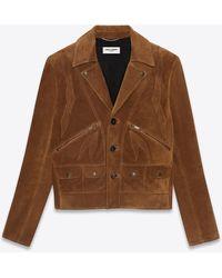 Saint Laurent Leaf Jacket In Vintage Suede - Brown