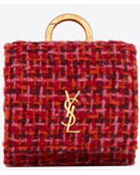 Saint Laurent Étui airpods pro en tweed et cuir lisse - Multicolore