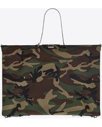 Saint Laurent Large convertible ID bag in camouflage print gabardine - Multicolore