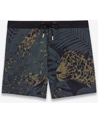 Saint Laurent Nocturnal Leopard Swim Trunks In Polyamide - Green
