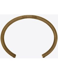 Saint Laurent Bangle bracelet in striated brass - Metallizzato