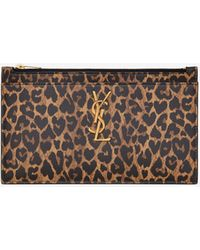 Saint Laurent Monogram Bill Pouch In Heart-shaped Leopard-print Leather - Brown