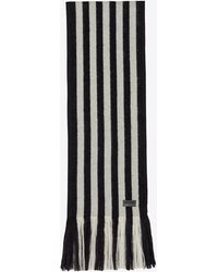 Saint Laurent Scarf in Striped knit wool - Nero