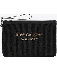 Saint Laurent Rive Gauche Pochette Zippée En Cuir Et Raphia Brodé - Black