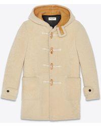 Saint Laurent Duffle Coat In Shearling - Natural