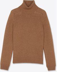 Saint Laurent Pull col roulé en laine - Multicolore