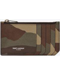 Saint Laurent   Classic Paris 5 Fragments Zip Pouch In Camouflage Grain De Poudre Textured Leather