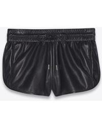 Saint Laurent Pantaloncini da boxe in pelle di agnello - Nero