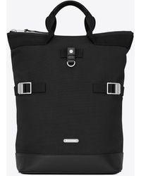 Saint Laurent Rivington Race Convertible Backpack In Canvas - Black