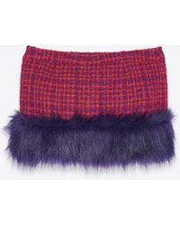 Saint Laurent Minirock aus bouclé-tweed mit kunstpelz - Lila