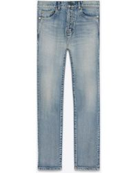 Saint Laurent Straight-cut jeans with cuffs in 80's vintage blue stretch denim