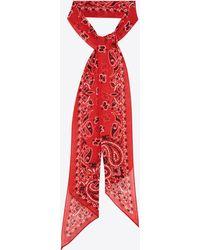 Saint Laurent Lavallière in mussola di lana a stampa bandana YSL - Rosso