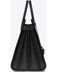 Saint Laurent Large SAC DE JOUR Carry All Bag nera in coccodrillo stampato - Nero
