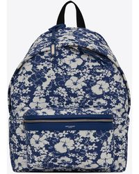 Saint Laurent City Backpack In Hibiscus-print Canvas - Blue