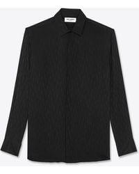 Saint Laurent Shirt In Shiny And Matte Cascade Silk - Black